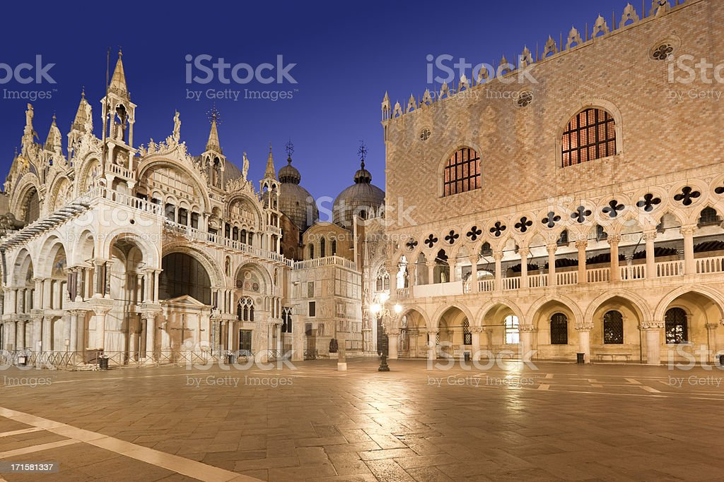 Cathedral St Marks Square Doge's Palace Venice Italy at night stock photo