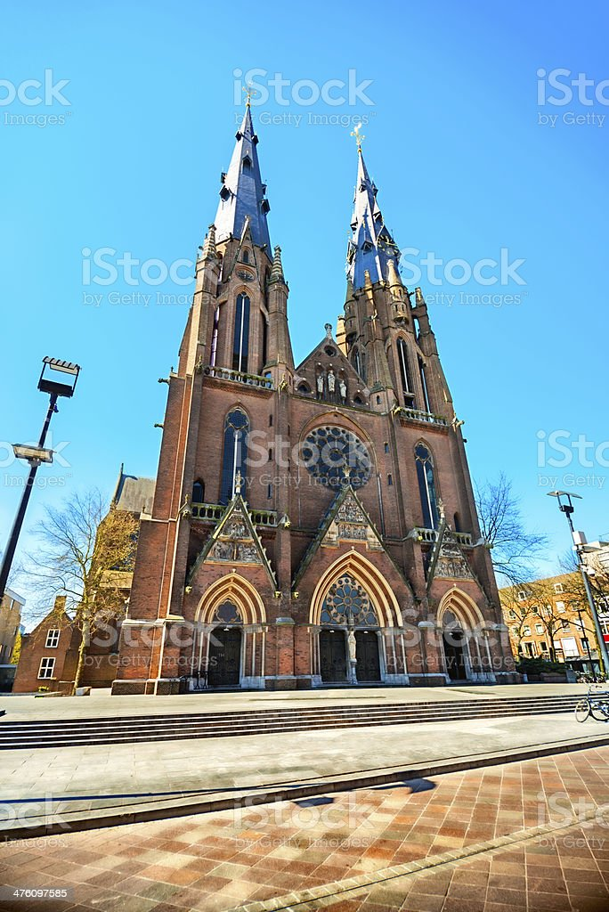 Cathedral Towers, Stadskerk St Cathrien, Eindhoven, Holland stock photo