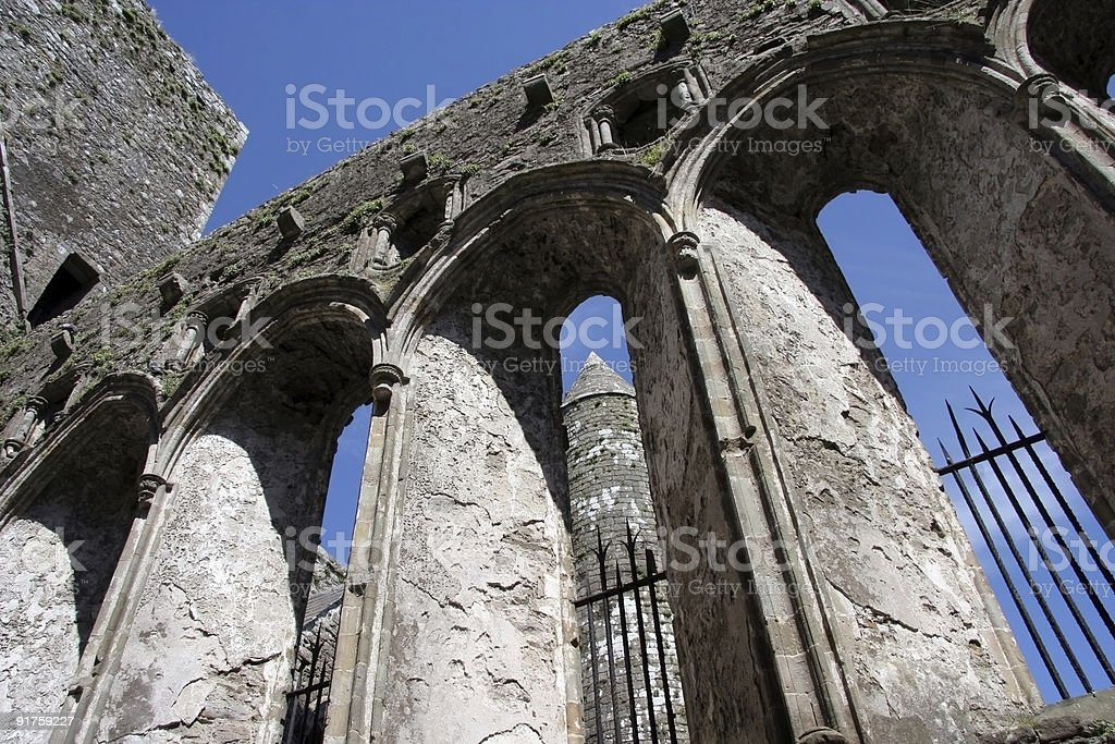 Cathedral walls and round tower royalty-free stock photo
