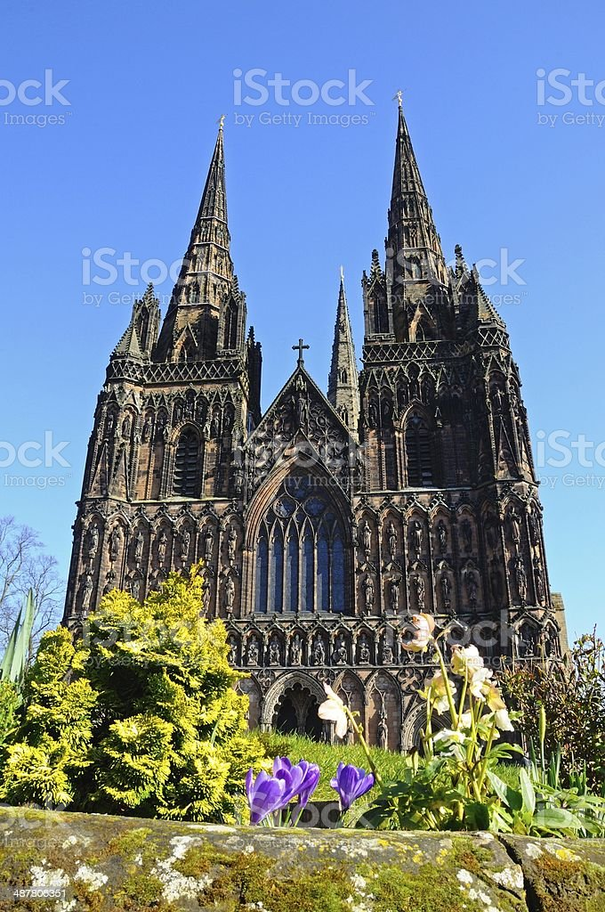 Cathedral West front, Lichfield. stock photo