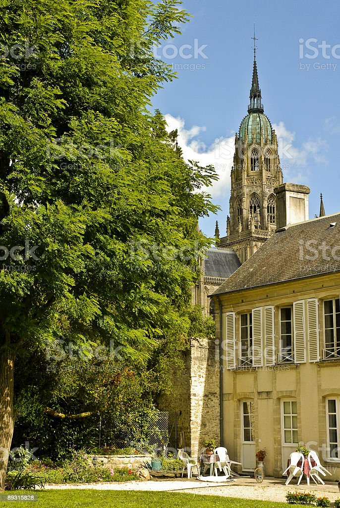 Cathedrale Notre Dame de Bayeux Over Hotel Tardif stock photo