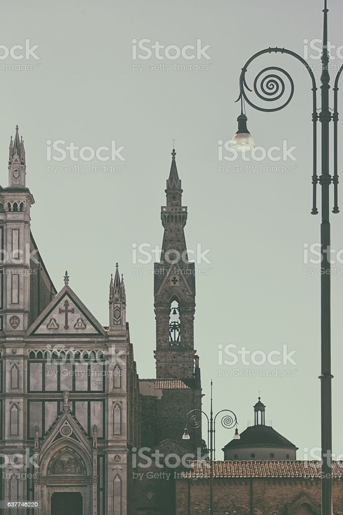 Cathedrals in the early morning in Florence stock photo