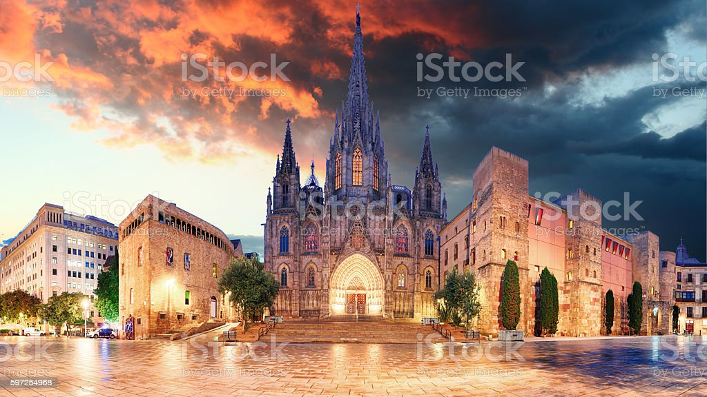 Cathedrel de Barcelona, Plaza Nova stock photo
