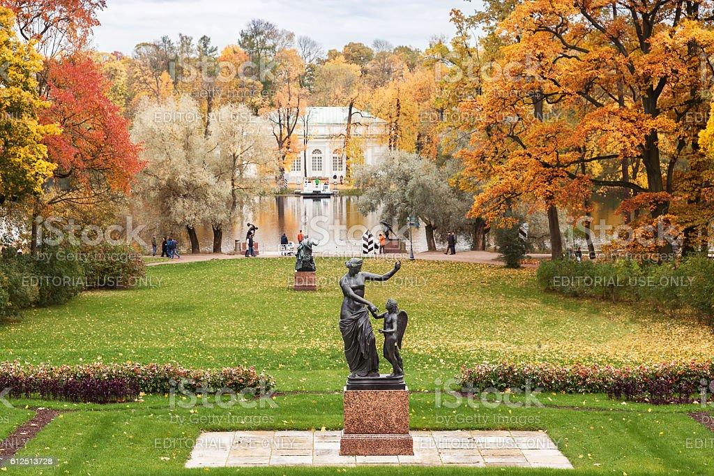 Catherine in Tsarskoye Selo in autumn, near Saint Petersburg stock photo