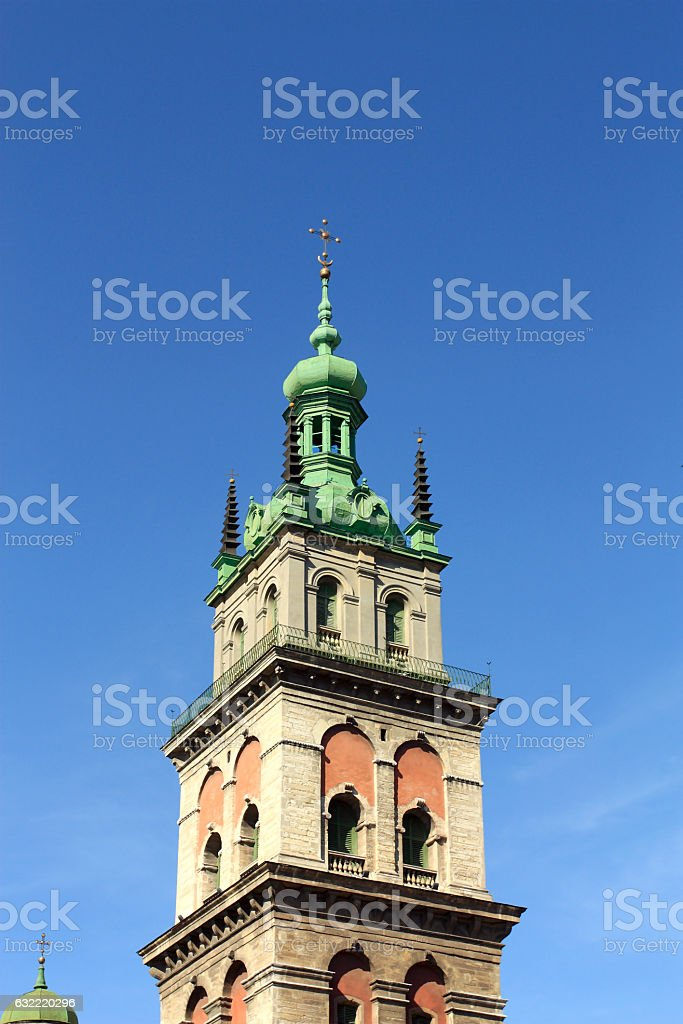Catholic belfry in the old Lvov stock photo