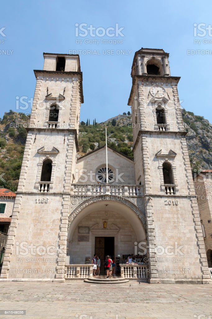 Catholic cathedral of St. Tryphon in Kotor, Montenegro stock photo