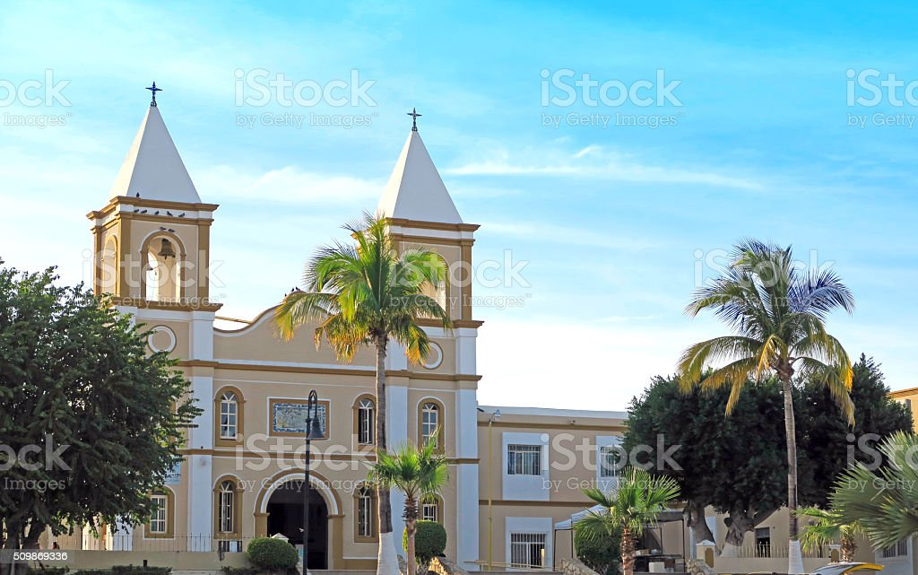 Catholic Church and Mission in San Jose del Cabo stock photo