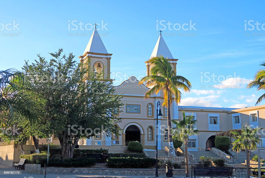 Catholic Church and Mission-  San Jose del Cabo at sunset stock photo