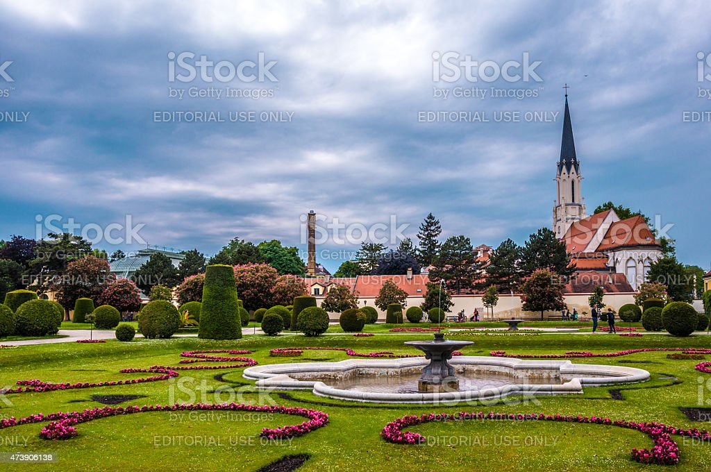 Catholic church at the garden of Sch?nbrunn, Austria stock photo