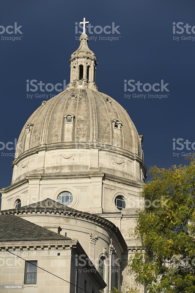 Catholic Church Cathedral Dome With Top Cross, Altoona, PA. stock photo