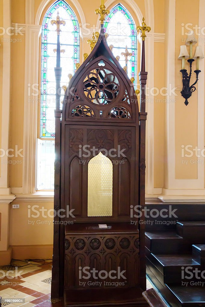Catholic Church Confessional Booth stock photo