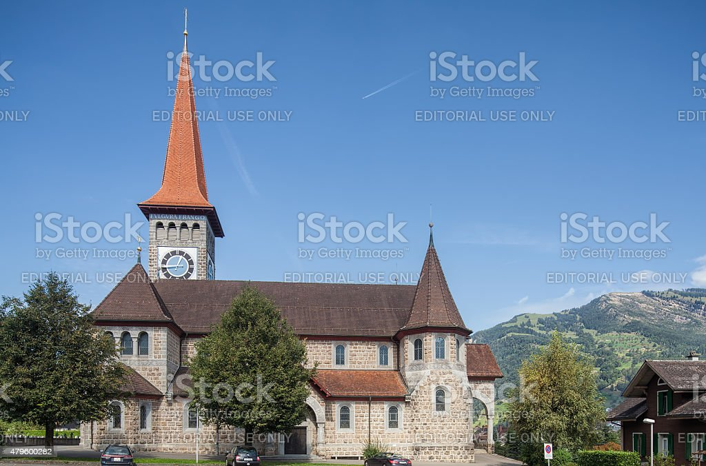 Catholic church in Goldau stock photo