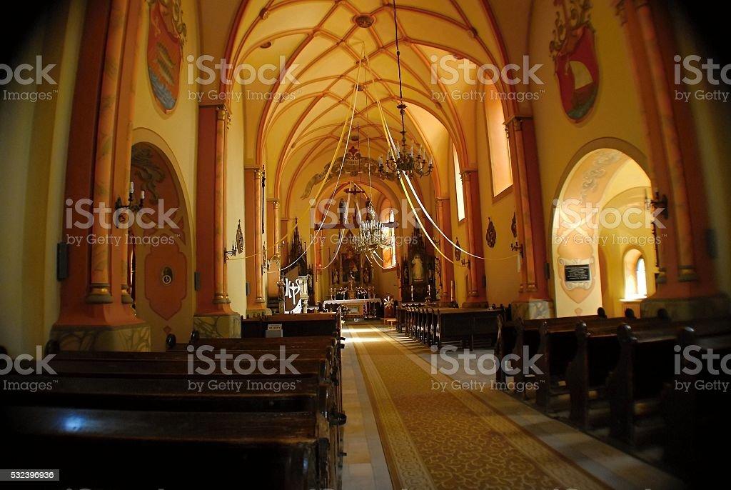 Catholic Church in the city center. stock photo