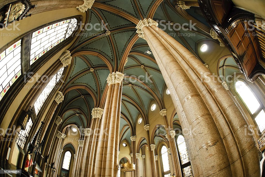 catholic  church interior Columns royalty-free stock photo