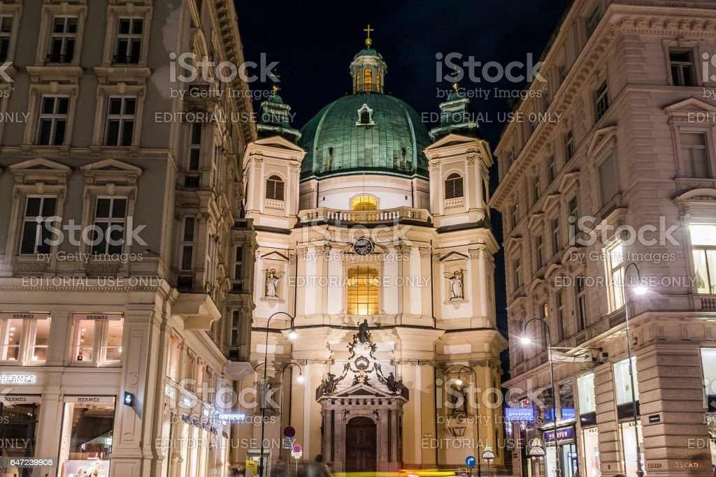 Catholic Church of St. Peter in Vienna during the Winter stock photo