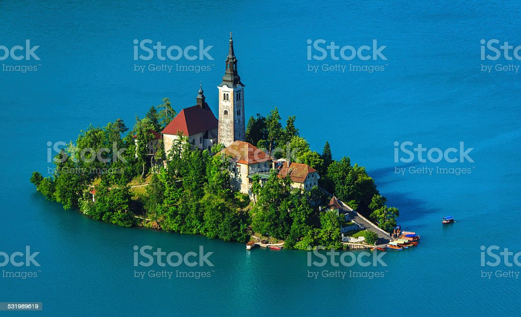 Catholic church on island, lake Bled stock photo