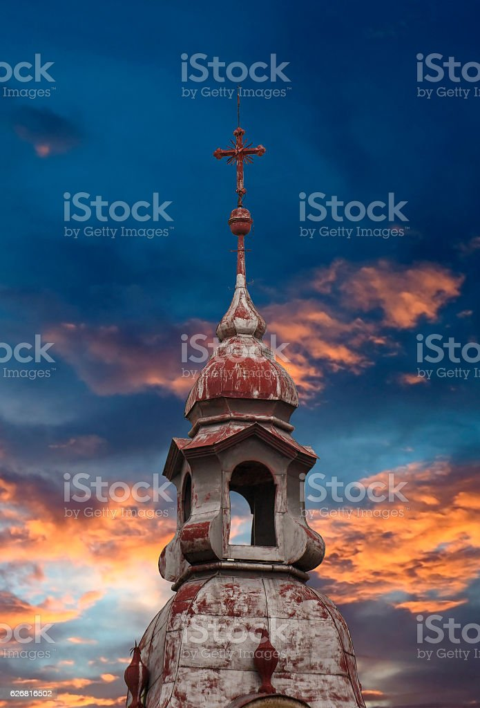 Catholic Church red top roof stock photo