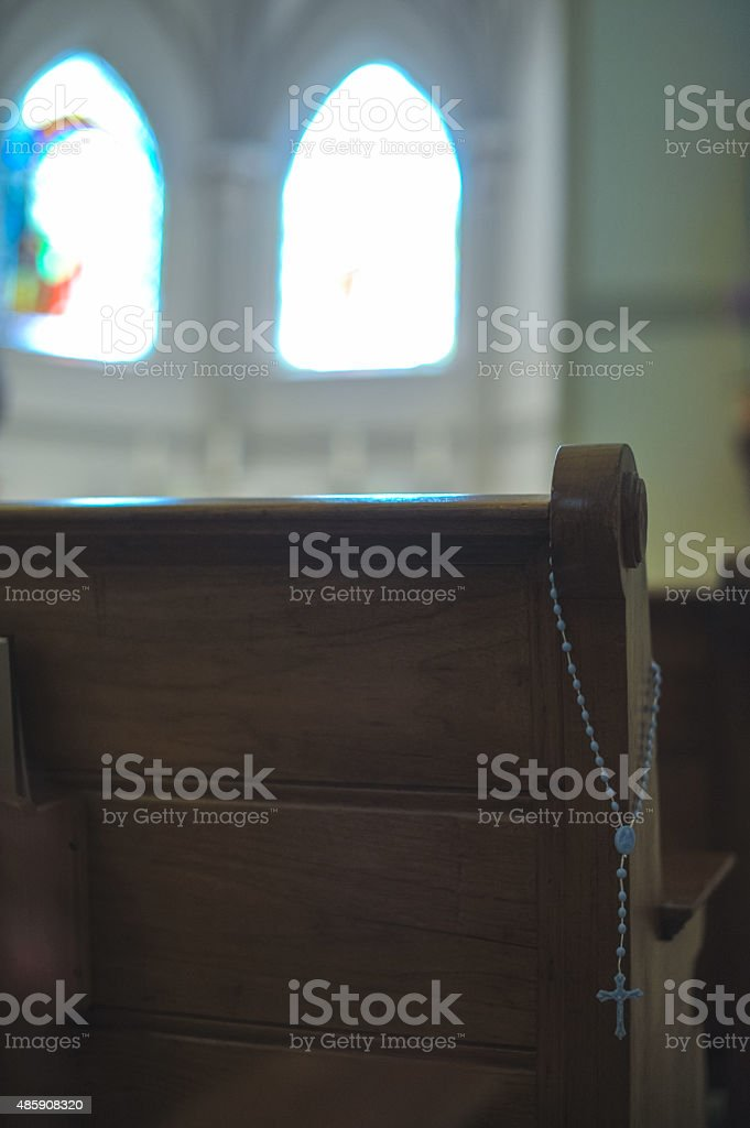 Catholic church rosary pew moment holy stock photo
