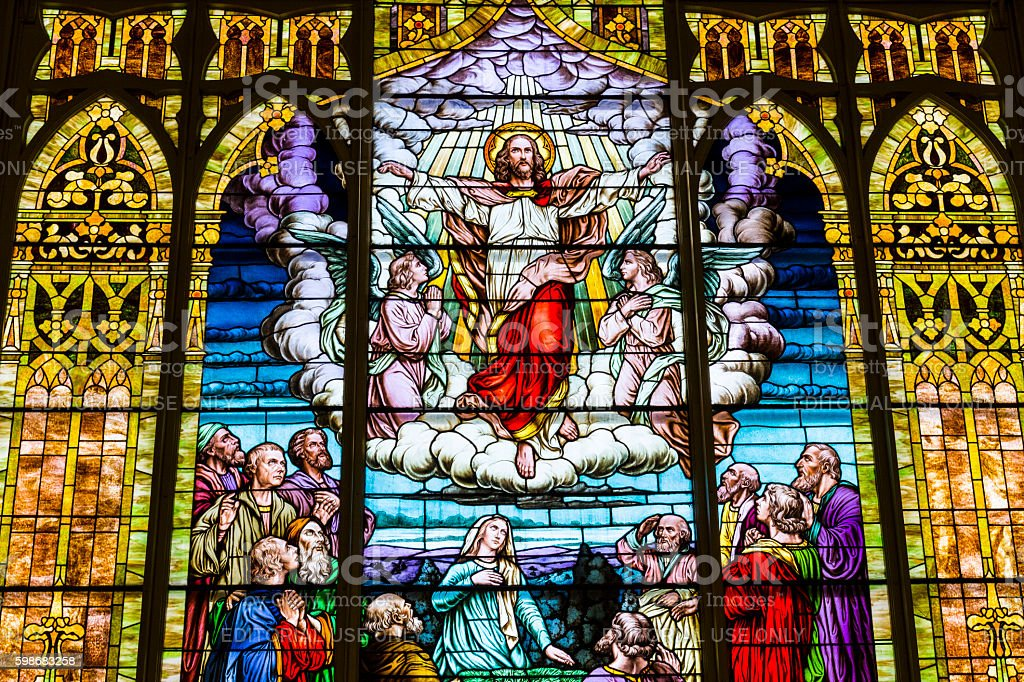 Catholic Church Stained Glass Window Depicting Jesus in Heaven I stock photo