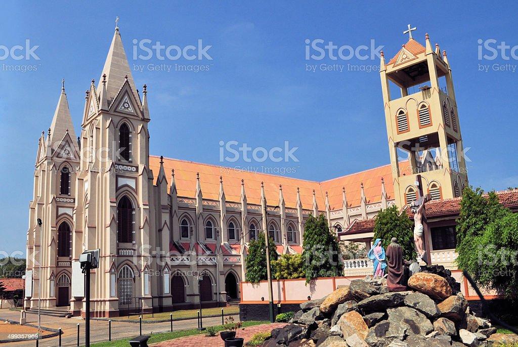 Catholic church with towers in Negombo, Sri Lanka stock photo