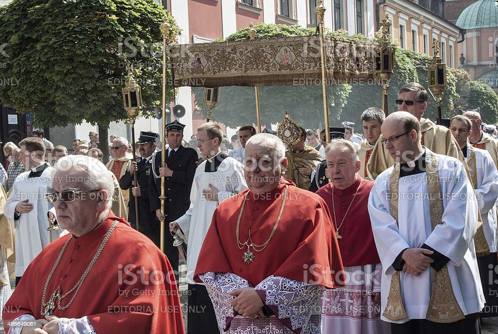Catholic Clergy During Religious Celebration royalty-free stock photo
