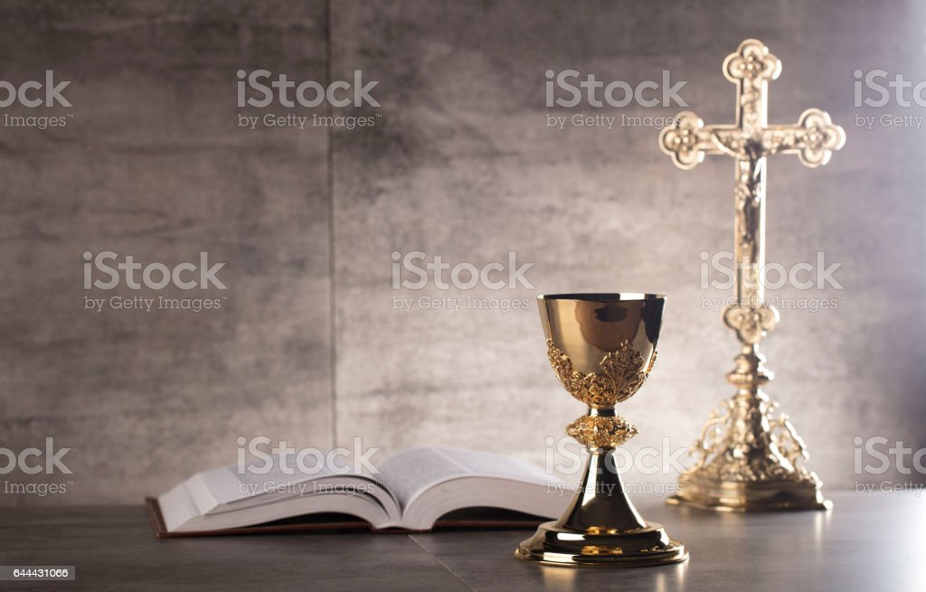 Catholic concept, gray background, place for typography. stock photo