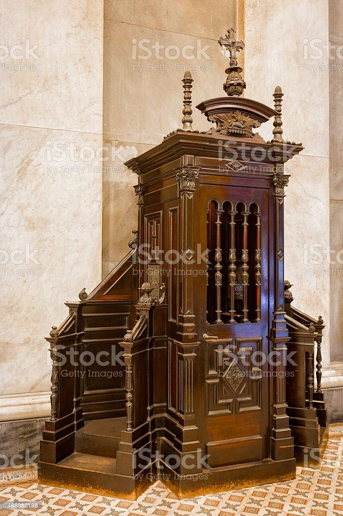 Catholic confessional stock photo