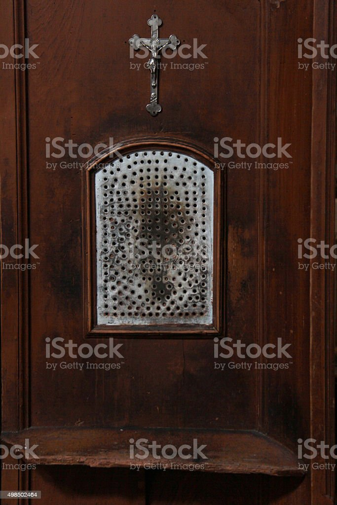 catholic confessional stock photo
