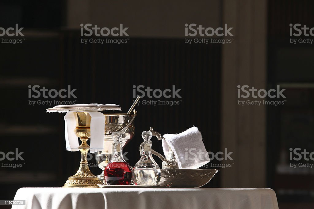 Catholic mass ceremony communion table royalty-free stock photo