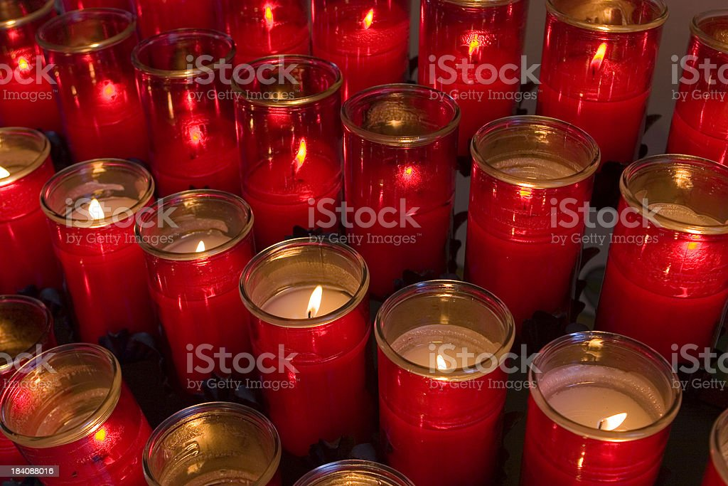 Catholic Prayer Candles in a Church royalty-free stock photo