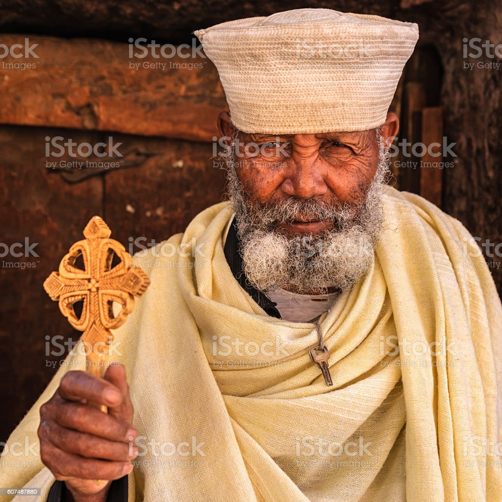 Catholic priest of rock-hewn churches of Lalibela. Ethiopia,East Africa stock photo