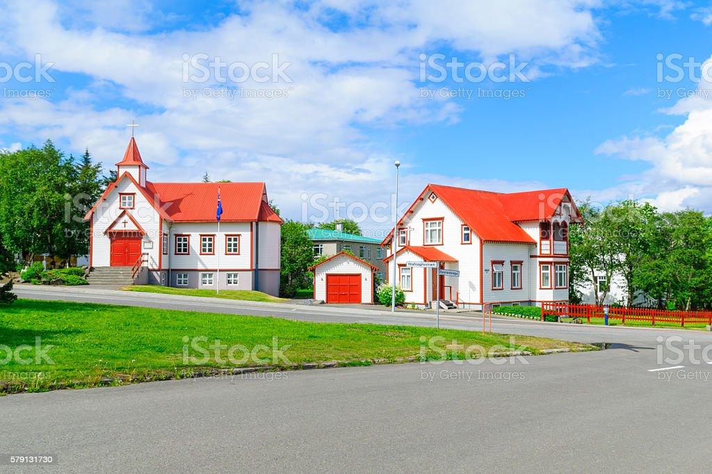 Catholic St. Peter Church, in Akureyri stock photo