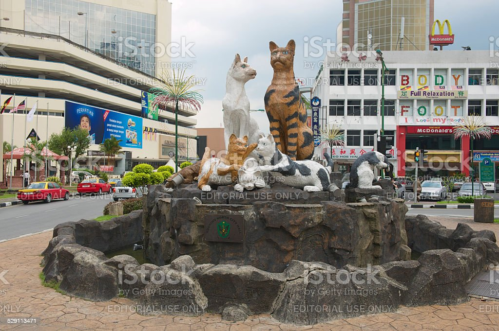 Cats monument at the downtown Kuching, Malaysia stock photo