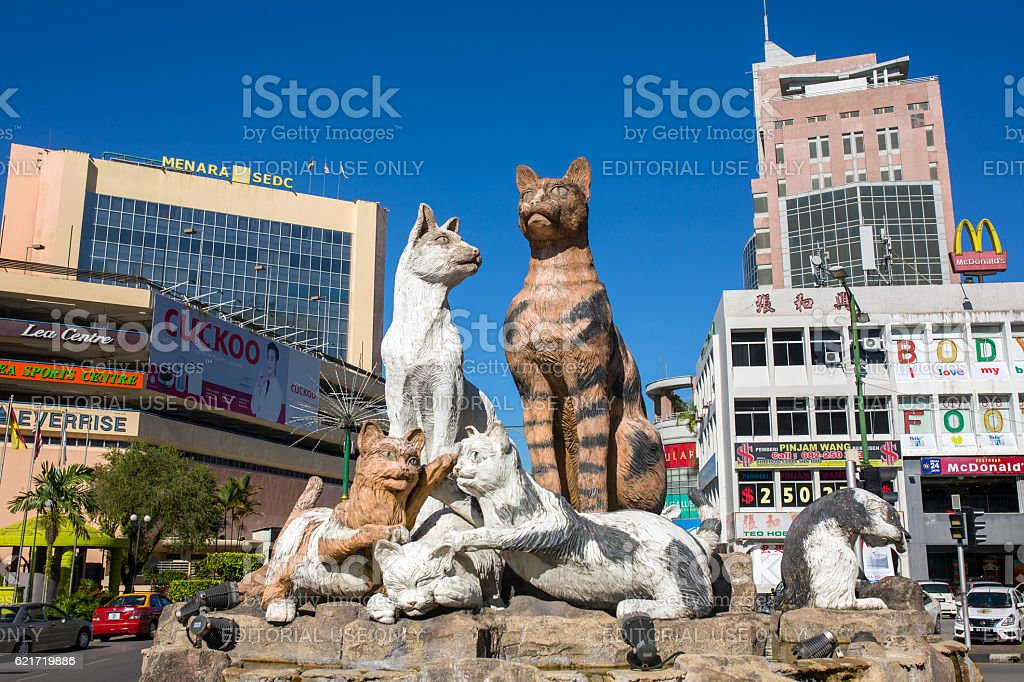 Cats monument at the downtown Kuching, Malaysia. stock photo