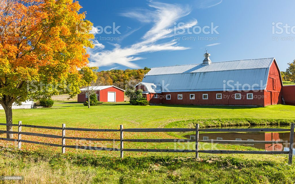 Catskills Barn and Pond stock photo