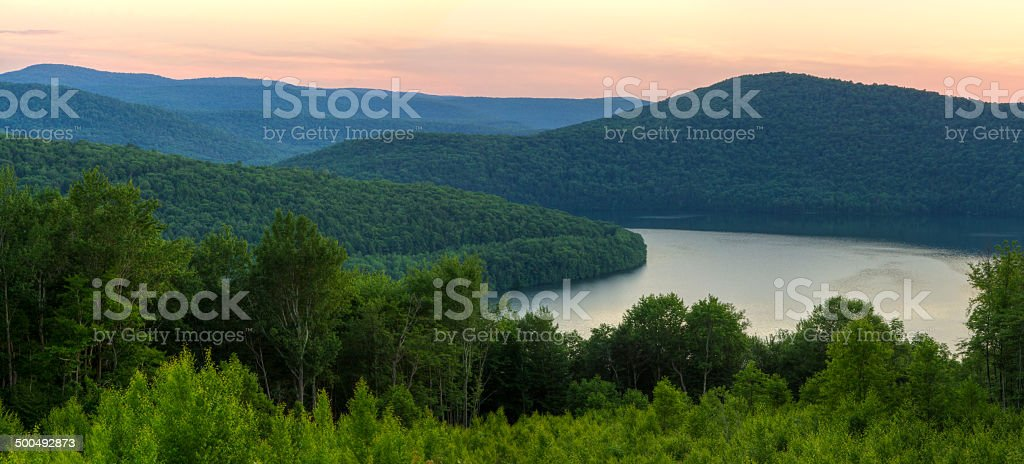 Catskills Soft Reservoir Sunset stock photo