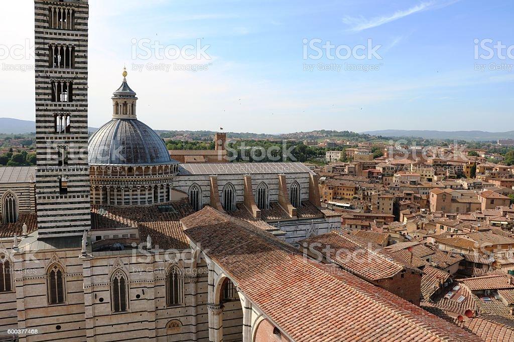 Cattedrale Santa Maria Assunta from Museo dell'Opera Metropolitana, Siena Italy stock photo