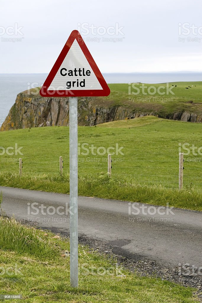 Cattle Grid Sign stock photo