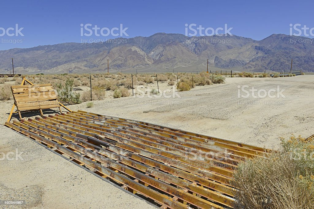 Cattle Guard on Road near Ranch in the Western USA stock photo