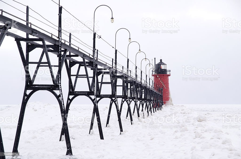 Catwalk to the Lighthouse on South Haven Pier royalty-free stock photo