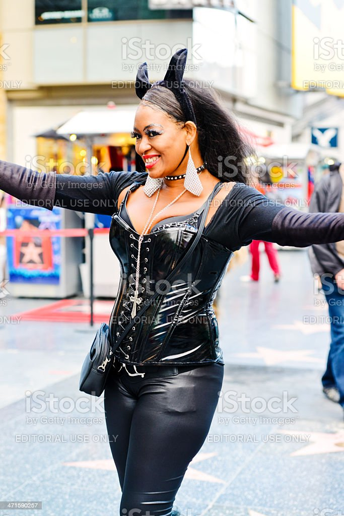Catwoman on Hollywood Boulevard royalty-free stock photo