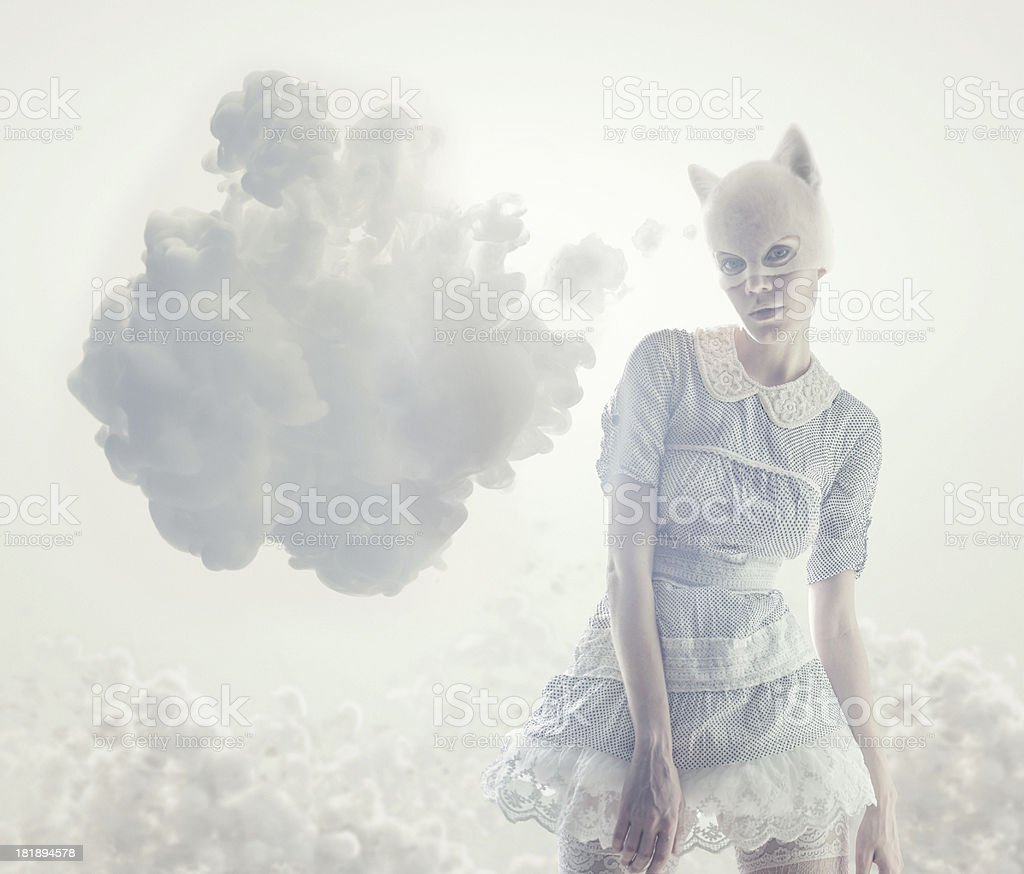 catwomen with thinking bubble cloud royalty-free stock photo