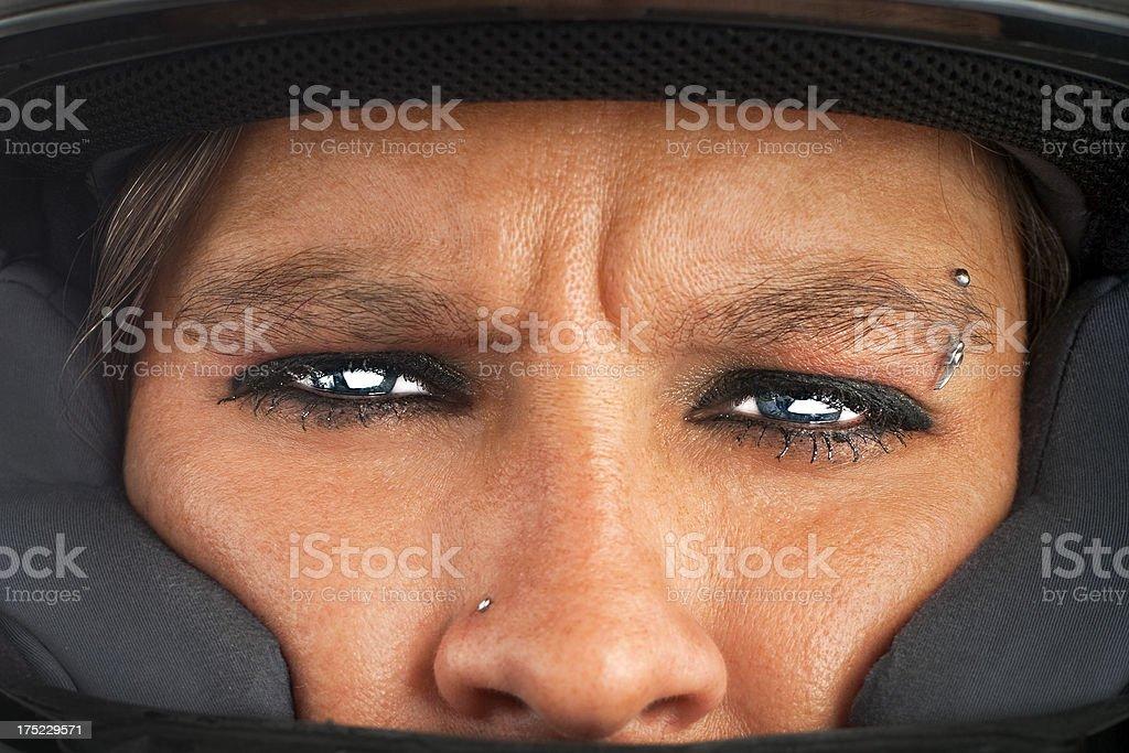 Caucasian Adult Woman Wore Helmet stock photo