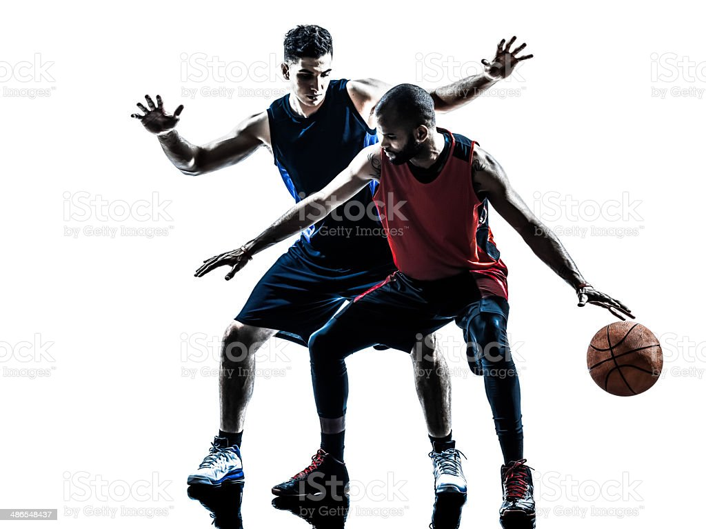 caucasian and african basketball players man silhouette stock photo