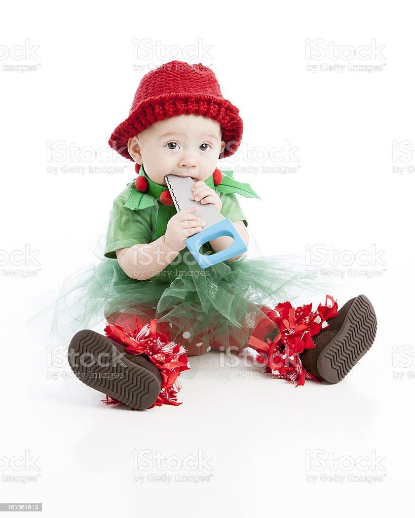 Caucasian Baby Girl Dressed as Santas Elf Plays with Saw stock photo