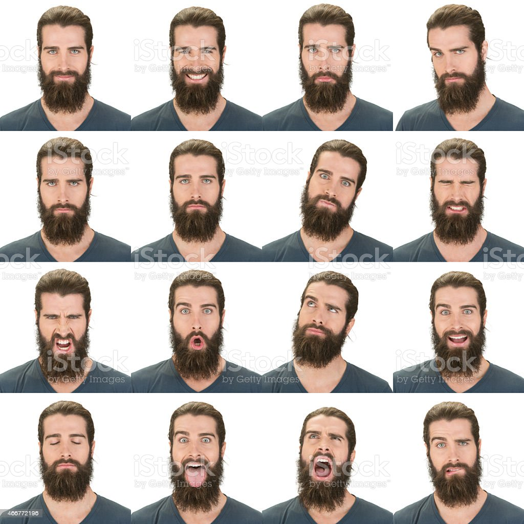 Caucasian bearded man tied up hair expression collection white isolated stock photo