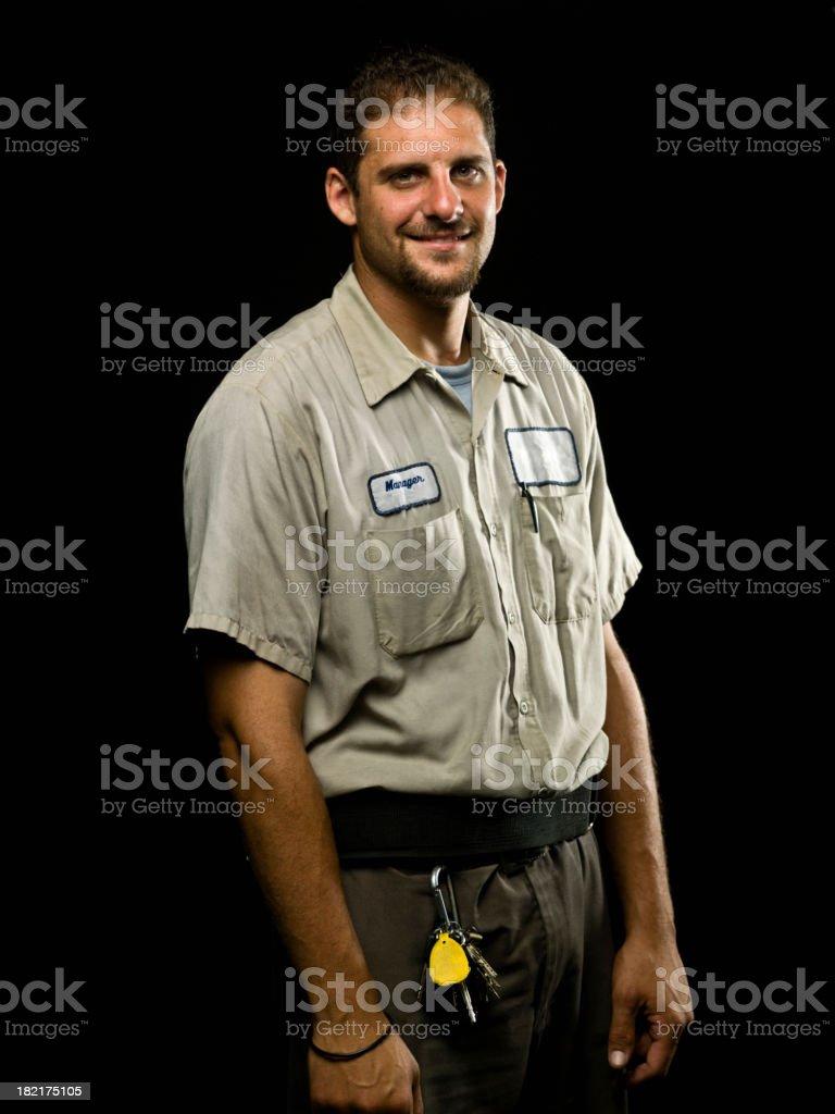 Caucasian Blue Collar Worker stock photo
