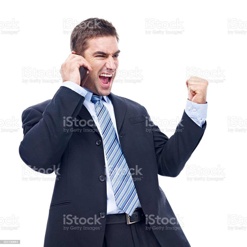 caucasian businessman talking on cellphone stock photo