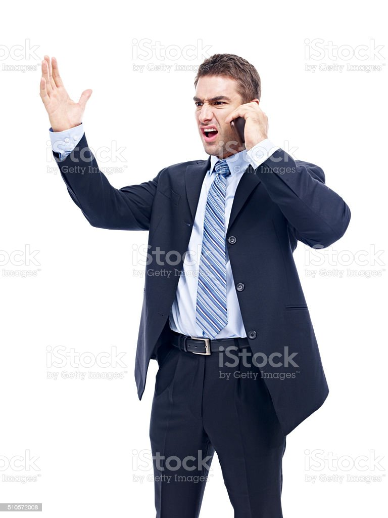 caucasian businessman talking on cellphone stock photo