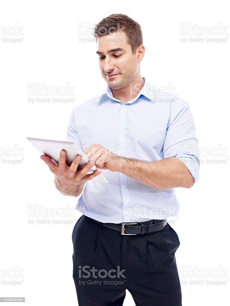 caucasian businessman using tablet computer stock photo